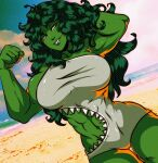 1girl arms_up beach biceps blue_sky clouds cloudy_sky colored_skin cowboy_shot green_hair green_skin grey_swimsuit half-closed_eyes highres ishmi long_hair marvel muscular muscular_female navel one-piece_swimsuit outdoors parted_lips sharkini she-hulk signature sky smile solo swimsuit