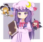 3girls :d bat_wings black_dress blush_stickers book broom broom_riding chibi crescent crescent_hat_ornament crys_(dai) dress fang hat hat_ornament head_wings holding holding_book kirisame_marisa koakuma mob_cap multiple_girls open_mouth patchouli_knowledge purple_background simple_background skin_fang smile touhou wings witch_hat