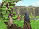 3girls acolyte_(ragnarok_online) armor backpack bag blonde_hair blue_flower blue_hair blue_sky boots braid braided_ponytail breastplate brown_capelet brown_dress brown_footwear brown_gloves brown_hair brown_legwear brown_shirt brown_shorts capelet chest_guard cliff clouds commentary_request day dress feet_out_of_frame floral_print flower from_behind full_body gauntlets gloves grass isao_shiru long_hair looking_to_the_side multiple_girls novice_(ragnarok_online) orange_flower outdoors pantyhose path ragnarok_online red_flower rose_print scabbard sheath shirt shoes short_hair shorts skirt sky sleeveless swordsman_(ragnarok_online) white_capelet white_skirt windmill