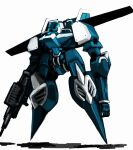 canopy floating gun highres holding holding_gun holding_weapon long_arms mecha nato_(shundatti) no_humans original science_fiction shadow solo weapon white_background wings