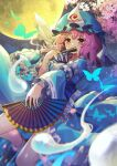 1girl absurdres blue_kimono blurry breasts bug butterfly cherry_blossoms chromatic_aberration covering_mouth depth_of_field fan foot_out_of_frame full_moon hat highres hitodama holding holding_fan insect japanese_clothes kimono medium_breasts medium_hair mob_cap moon night night_sky outdoors pink_eyes pink_hair saigyouji_yuyuko sky solo touhou triangular_headpiece yuujin_(yuzinn333)