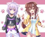 2girls :3 :d ahoge animal_collar animal_ear_fluff animal_ears arm_at_side baggy_pants bangs black_collar black_hoodie blue_bow blush bone_hair_ornament bow bracelet braid brown_eyes brown_hair buttons cartoon_bone cat_ears cat_girl cat_tail closed_mouth collar collarbone commentary cowboy_shot crop_top crossed_bangs dog_ears dog_girl dog_tail drawstring dress eyebrows_visible_through_hair fangs fingers_together hair_between_eyes hair_ornament hairclip happy highres hololive hood hood_down hoodie inugami_korone jacket jewelry long_hair long_sleeves looking_at_viewer low_twin_braids midriff multiple_girls navel nekomata_okayu off_shoulder onigiri_print open_clothes open_jacket open_mouth pants paw_print paw_print_background pink_background pontasu print_hoodie purple_hair red_bow red_collar short_dress short_hair side-by-side sleeves_past_wrists smile standing strap sweatpants tail twin_braids two-tone_background violet_eyes virtual_youtuber white_background white_dress white_pants yellow_jacket
