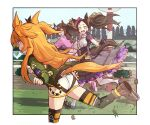 3girls animal_ears ass boots clenched_teeth dirt from_yaneura gloves highres horse_ears horse_girl horse_tail jacket long_hair looking_at_another marvelous_sunday_(umamusume) mayano_top_gun_(umamusume) multiple_girls open_mouth orange_hair racetrack running surprised tail teeth umamusume yellow_eyes