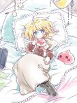 1girl :3 acolyte_(ragnarok_online) arutopian bangs biretta black_legwear blonde_hair blue_eyes blush book brown_shirt button_eyes capelet character_doll closed_mouth commentary_request eyebrows_visible_through_hair full_body looking_at_viewer medium_hair on_bed pantyhose pillow poring ragnarok_online shirt skirt smile solo white_capelet white_skirt