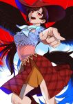 1girl :d bandana bangs blue_shirt breasts brown_hair contrapposto cowboy_hat feet_out_of_frame foreshortening from_below hat highres horse_tail joniko1110 kurokoma_saki long_hair medium_breasts open_mouth pegasus_wings plaid pointing pointing_at_viewer red_background red_eyes red_skirt shirt simple_background skirt smile solo swept_bangs tail touhou very_long_hair