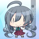 1girl ahoge artist_name blue_background bow bowtie character_name chibi commentary_request dress full_body gradient gradient_background grey_eyes grey_hair grey_legwear hair_between_eyes halterneck highres inaba_shiki kantai_collection kiyoshimo_(kancolle) long_hair low_twintails pantyhose pleated_dress purple_dress shirt solo standing twintails very_long_hair white_shirt  _ 