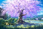 blue_sky cherry_blossoms clouds commentary_request crate day grass hedge_(plant) highres house lake mikannokawa7008 mountain mountainous_horizon original outdoors plant potted_plant power_lines scenery sky stepping_stones tree utility_pole water