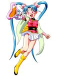 1girl aqua_hair bangs facial_mark forehead_mark full_body holding holding_wand long_hair long_sleeves mahou_shoujo_pretty_sammy masaki_sasami_jurai miniskirt official_art open_mouth outstretched_arm photoshop_(medium) pink_eyes pleated_skirt pretty_sammy_(character) simple_background skirt solo tenchi_muyou! twintails very_long_hair wand white_background white_skirt wide_sleeves