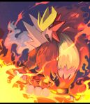 commentary_request entei fire from_below gen_2_pokemon legendary_pokemon looking_down night no_humans outdoors paws pokemon pokemon_(creature) red_eyes sky solo standing toes yottur