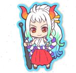 1girl ahoge aqua_hair bare_arms bare_shoulders blue_hair chibi closed_mouth club cuffs curled_horns earrings full_body green_hair hair_ornament hair_stick hakama hand_up highres holding holding_weapon horns i! japanese_clothes jewelry kanabou kataginu looking_at_viewer multicolored_hair multicolored_horns one_piece oni orange_horns planted_weapon red_eyes red_horns rope shackles shimenawa sidelocks smile solo standing weapon white_hair yamato_(one_piece) yellow_horns