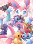 blue_eyes character_doll commentary_request doll dragapult dragonite dreepy garchomp gen_1_pokemon gen_3_pokemon gen_4_pokemon gen_5_pokemon gen_6_pokemon gen_7_pokemon gen_8_pokemon goodra highres holding holding_doll hydreigon kommo-o mouth_hold paws pokemon pokemon_(creature) salamence sasabunecafe solo sylveon toes