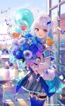 1girl armband bangs blue_hair blunt_bangs bouquet building colored_inner_hair day eyebrows_visible_through_hair flower fuzichoco hair_ornament highres lize_helesta long_hair looking_at_viewer multicolored_hair nijisanji official_art open_mouth silver_hair solo thigh-highs two-tone_hair violet_eyes virtual_youtuber
