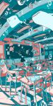 1boy 1girl black_hair black_pants black_skirt chair chalkboard classroom desk eraser from_behind highres ichigoame indoors long_hair long_sleeves manta_ray moorish_idol original pants pencil pleated_skirt shirt short_hair skirt white_shirt wide_shot
