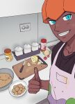 1boy absurdres apron blue_eyes bowl brown_shirt character_print chatea commentary_request cooking cutting_board dark-skinned_male dark_skin food gen_6_pokemon goomy grin highres indoors jar knife korean_commentary looking_at_viewer male_focus orange_headwear pokemon pokemon_(game) pokemon_swsh pot raihan_(pokemon) selfie shirt smile solo t-shirt teeth thumbs_up