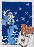 2girls absurdres arm_up bangs black_hairband black_ribbon blue_background blue_kimono blue_sash blunt_bangs border breasts bug butterfly closed_eyes commentary_request face full_body hair_ribbon hairband hat highres hitodama imori_(46296895) insect japanese_clothes kimono konpaku_youmu large_breasts long_sleeves mob_cap moth multiple_girls obi open_mouth outside_border pink_hair purple_sash red_eyes ribbon saigyouji_yuyuko sash short_hair simple_background smile touhou triangular_headpiece white_border white_hair wide_sleeves