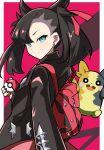 1girl backpack bag black_hair black_jacket blue_eyes earrings gen_8_pokemon highres jacket jewelry marnie_(pokemon) morpeko poke_ball pokemon pokemon_(game) pokemon_swsh synchroman twintails