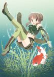 1girl bangs boots breasts brown_eyes brown_hair bubble camouflage camouflage_scarf camouflage_shorts commentary_request double_bun elbow_gloves eyebrows_visible_through_hair fingerless_gloves fish full_body gloves green_footwear green_gloves green_legwear green_scarf green_shorts green_tubetop koi looking_at_viewer maru_(sasayama_chikage) medium_breasts medium_hair open_mouth plant ragnarok_online ranger_(ragnarok_online) scarf shorts sleeve_garter solo strapless thigh-highs tubetop underwater