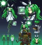 1boy 1girl :o animal_ears bfg_9000 bfg_9000_(personification) bodysuit bug butterfly coat container cyborg doom_(series) doom_eternal doomguy energy_ball english_commentary facial_mark fake_animal_ears forehead_mark glowing_butterfly gradient gradient_background green_eyes green_hair green_theme highres insect neon_trim personification power_armor rabbit_ears sitting_on_shoulder substance20 twintails