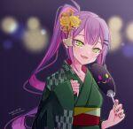 1girl dakuryuu dated ear_piercing earrings fan fang flower furisode green_eyes green_kimono green_nails hair_flower hair_ornament hair_ribbon hairclip hololive japanese_clothes jewelry kimono multicolored multicolored_nails nail_polish obi open_mouth orange_ribbon paper_fan piercing pink_hair pink_nails pointy_ears ponytail ribbon sash smile solo tokoyami_towa twitter_username uchiwa upper_body virtual_youtuber wide_sleeves