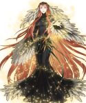 1girl ashera_(fire_emblem) black_dress breasts circlet detached_sleeves dress feather_trim feathers fingernails fire_emblem fire_emblem:_radiant_dawn fire_emblem_heroes full_body gem hair_ornament hand_up highres jewelry kita_senri light_particles long_dress long_hair long_sleeves looking_at_viewer medium_breasts official_art parted_lips red_eyes redhead standing transparent_background turtleneck wide_sleeves