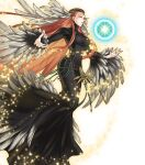 1girl ashera_(fire_emblem) black_dress breasts circlet closed_mouth detached_sleeves dress feather_trim feathers fingernails fire_emblem fire_emblem:_radiant_dawn fire_emblem_heroes full_body gem gradient gradient_clothes hair_ornament highres jewelry kita_senri light_particles long_dress long_hair long_sleeves looking_away magic medium_breasts official_art red_eyes redhead solo transparent_background turtleneck wide_sleeves