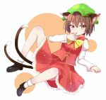 1girl :p absurdres animal_ear_fluff animal_ears bow bowtie brown_eyes brown_hair cat_ears cat_tail chen clip_studio_paint_(medium) commentary_request dress finger_licking full_body gold_trim hat highres iyo_(ya_na_kanji) jewelry juliet_sleeves licking light_blush long_sleeves mob_cap multiple_tails nekomata puffy_sleeves red_dress short_hair simple_background single_earring solo spread_legs tail tongue tongue_out touhou two_tails white_background yellow_neckwear