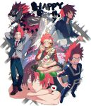 alternate_hairstyle arms_behind_head belt blazer boku_no_hero_academia boots cake closed_eyes collared_shirt cream cream_on_face cropped_jacket eating fang food food_on_face from_above grin hands_on_hips head_rest heart indian_style jacket kirishima_eijirou looking_at_viewer male_focus multiple_views necktie open_mouth pants red_eyes red_shirt redhead sanpaku sash scar scar_on_face school_uniform sharp_teeth shirt shoco_(sco_labo) short_hair sitting slippers smile spiky_hair spotlight standing teeth track_pants track_suit white_shirt