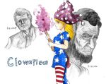 1girl 2boys abraham_lincoln american_flag_dress american_flag_legwear bangs beard blonde_hair breasts character_name closed_mouth clownpiece collared_shirt cowboy_shot crossover eyebrows_visible_through_hair facial_hair fire greyscale hat highres holding holding_torch imori_(46296895) jester_cap john_f._kennedy long_hair looking_at_viewer medium_breasts monochrome multiple_boys necktie pantyhose polka_dot real_life red_eyes shirt short_hair solo torch touhou upper_body