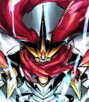 chest_jewel electricity glowing glowing_eyes hidden_mouth highres mecha no_humans raioh scarf sketch super_robot_wars tonami_kanji
