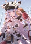 1girl absurdres animal animal_print blue_hair breasts commentary_request cow cow_hood cow_print detached_sleeves draph eyebrows_visible_through_hair granblue_fantasy highres holding holding_animal large_breasts long_hair multicolored_hair pink_eyes pink_hair revision shatola_(granblue_fantasy) sheer_clothes smile snow solo takanishi_takashi thick_eyebrows