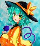 1girl bangs black_headwear blouse blue_background blue_hair bow crystal eyebrows_visible_through_hair green_eyes hair_between_eyes hand_up hat komeiji_koishi long_sleeves looking_at_viewer open_mouth qqqrinkappp shikishi short_hair smile solo touhou traditional_media yellow_blouse yellow_bow yellow_sleeves