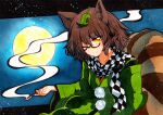1girl animal_ears bangs black_border border brown_hair checkered checkered_scarf closed_mouth eyebrows_visible_through_hair full_moon futatsuiwa_mamizou glasses green_sleeves green_sweatshirt hair_between_eyes hand_up leaf leaf_on_head long_sleeves looking_at_viewer moon night night_sky one_eye_closed pom_poms qqqrinkappp scarf short_hair sitting sky smile smoke solo tail touhou traditional_media yellow_eyes yellow_moon