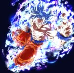 1boy aura battle_damage clenched_hand closed_mouth dragon_ball dragon_ball_super fighting_stance male_focus pants pectorals rom_(20) shirtless solo son_goku torn_clothes torn_pants ultra_instinct white_hair