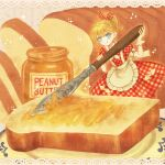 1girl apron blonde_hair blue_eyes bow bread dress dress_bow food food_focus gloves hair_bow highres holding holding_knife knife loaf_of_bread minigirl original peanut_butter plaid plaid_dress ponytail saigasai single_glove solo toast tongue tongue_out waist_apron