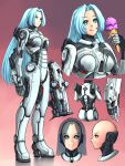 1girl arms_at_sides bald bald_girl blue_eyes blue_hair breasts cyberpunk cyborg doom_(2016) doom_(series) english_commentary eyebrows_visible_through_hair gun highres ice_cream_cone joints licking_lips long_hair looking_at_viewer medium_breasts personification rifle robot_joints science_fiction solo standing substance20 tongue tongue_out very_long_hair weapon