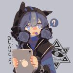 1girl ? animal_ears arknights bangs blue_eyes blue_hair candy character_name chibi chinese_commentary double_bun food food_in_mouth glaucus_(arknights) highres lollipop long_sleeves multicolored_hair solo spoken_question_mark streaked_hair tablet_pc yanghua_yan_zhi_yu_gan