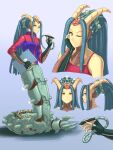 1girl blue_hair claws colored_skin cyborg doom_(series) doom_eternal english_commentary exposed_brain full_body highres horns jacket lamia long_hair looking_at_viewer mechanical_parts monster_girl one_eye_closed orange_eyes pencil solo stylus substance20 tablet_pc very_long_hair whiplash_(doom_eternal) yellow_skin