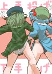2girls anger_vein ass background_text baseball_cap black_headwear black_panties blouse blue_blouse blue_hair blue_skirt commentary crotch_seam dress facing_away flat_cap from_behind green_dress green_hair green_headwear hair_bobbles hair_ornament hat kawashiro_nitori lifted_by_another long_sleeves medium_hair miniskirt multiple_girls panties pants panty_lift short_dress short_hair skirt standing touhou translated twintails twitter_username underwear wedgie white_panties yamashiro_takane zannen_na_hito