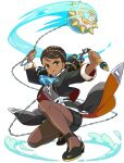 1girl arms_up artist_request ball_and_chain_(weapon) black_footwear black_jacket black_skirt blue_neckwear blush bow bowtie breasts brown_eyes brown_hair brown_legwear buttons dark-skinned_female dark_skin earrings formal full_body grey_vest hairlocs highres holding holding_weapon jacket jewelry light_blush long_sleeves looking_at_viewer medium_breasts medium_hair miniskirt multicolored_hair non-web_source official_art one_knee open_mouth pantyhose pencil_skirt sharon_(world_flipper) shirt shoes skirt skirt_suit solo striped striped_legwear striped_neckwear suit teeth tied_hair transparent_background twintails two-sided_fabric two-sided_jacket two-tone_hair vest waist_cape water weapon white_shirt world_flipper