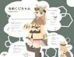 1girl antennae back black_undershirt brown_capelet brown_dress brown_footwear capelet character_name character_sheet commentary_request dress goggles green_eyes highres long_sleeves namekuz1paint no_outlines original signature simple_background slug slug_girl solo unamused