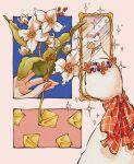 animal_focus bird blue_background closed_eyes duck flower hands highres holding holding_flower leaf mirror no_humans orange_nails original red_flower reflection shadow sparkle trym_hinano white_flower