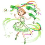 1girl :d ankle_ribbon asuna_(sao) brown_eyes brown_hair collarbone dress fish flower frilled_dress frills full_body green_footwear green_ribbon hair_flower hair_ornament hair_ribbon highres layered_dress looking_at_viewer official_art open_mouth outstretched_arms pumps purple_flower ribbon short_hair simple_background sleeveless sleeveless_dress smile solo sundress sword_art_online sword_art_online:_code_register sword_art_online:_memory_defrag white_background white_legwear younger