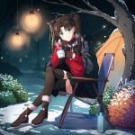 1girl absurdres black_hair camping fate_(series) highres long_hair looking_at_viewer solo tohsaka_rin twintails