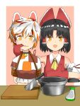 2girls absurdres animal_ears ascot bangs bdsm benikurage_(cookie) black_hair bondage border bound bow brown_eyes cat_ears cleaver commentary_request cookie_(touhou) crop_top detached_sleeves gloves goutokuji_mike grater hair_bow hakurei_reimu highres looking_at_viewer mittens multicolored_hair multiple_girls nekokatana_catana open_mouth orange_eyes parted_bangs pot red_bow red_gloves rope shirt short_hair sleeveless sleeveless_shirt slit_pupils streaked_hair tearing_up touhou upper_body white_border white_hair white_sleeves yellow_neckwear