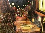 absurdres balcony building commentary crosshatching hatching_(texture) highres house ibsukionsen lamppost night no_humans original outdoors plant power_lines railing scenery stairs stone_walkway traditional_media vending_machine vines wall window
