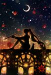 1girl absurdres backlighting bloom cat commentary_request dark from_side full_body harada_miyuki highres higuchi_kaede holding holding_instrument instrument leaf long_hair moon night night_sky nijisanji outdoors ponytail shadow silhouette sitting sky solo star_(sky) starry_sky trumpet very_long_hair virtual_youtuber