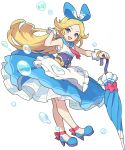 1girl alice_(world_flipper) ankle_ribbon apron artist_request bangs blonde_hair blue_footwear blue_hairband blue_ribbon blue_sailor_collar blue_skirt blush blush_stickers breasts bubble closed_umbrella collared_shirt forehead frilled_apron frilled_shirt frilled_skirt frills full_body hair_ribbon hairband hand_up happy heart high_heels highres holding holding_umbrella layered_skirt light_blush long_hair looking_at_viewer neckerchief non-web_source official_art open_mouth parted_bangs pink_neckwear pink_ribbon ribbon sailor_collar sash see-through shiny shiny_hair shirt shoes sidelocks skirt sleeveless sleeveless_shirt small_breasts smile solo standing transparent_background umbrella v-shaped_eyebrows very_long_hair violet_eyes waist_apron white_apron white_shirt world_flipper wrist_cuffs
