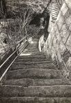 commentary_request crosshatching greyscale hatching_(texture) highres ibsukionsen monochrome no_humans original outdoors railing scenery stairs stone_wall traditional_media tree wall