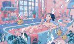 1girl bare_shoulders bathing bathtub black_hair bubble fish highres ichigoame indoors leaf long_hair moorish_idol nude original partially_submerged plant ponytail potted_plant ripples solo surreal window