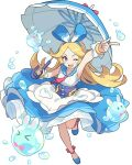 >_< ._. 1girl alice_(world_flipper) ankle_ribbon apron arm_up artist_request bangs black_eyes blonde_hair blue_footwear blue_hairband blue_ribbon blue_sailor_collar blue_skirt blush breasts bubble collared_shirt forehead frilled_apron frilled_shirt frilled_skirt frills full_body hair_ribbon hairband hand_up happy heart highres holding holding_umbrella index_finger_raised knees_together_feet_apart layered_skirt leg_up light_blush long_hair looking_at_viewer neckerchief non-web_source official_art one_eye_closed open_mouth parted_bangs pink_neckwear pink_ribbon ribbon sailor_collar sash see-through shiny shiny_hair shirt shoes sidelocks skirt sleeveless sleeveless_shirt small_breasts smile solo standing standing_on_one_leg transparent_background umbrella v-shaped_eyebrows very_long_hair violet_eyes waist_apron white_apron white_shirt world_flipper wrist_cuffs